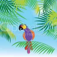 Tropical vector background with leaves of palm trees and parrot.