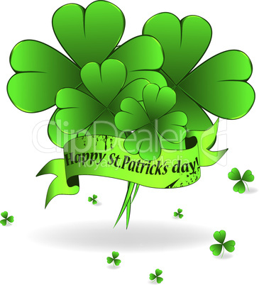 Background to St. Patrick's Day with clover and ribbon