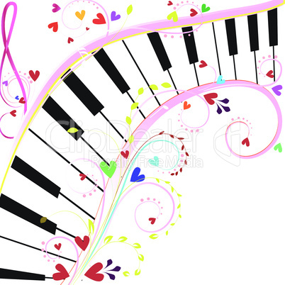 Piano keyboard on a white background with notes and hearts for Valentine holiday