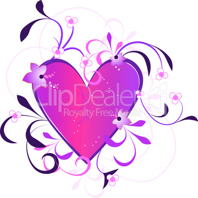 Valentines Day background with Heart, flowers and circle