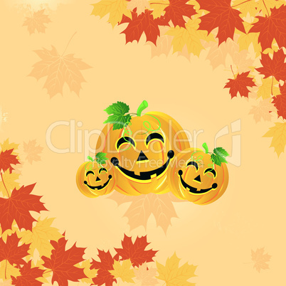 Halloween pumpkin on the autumn leaves.