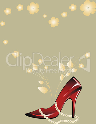 Red glossy woman shoe
