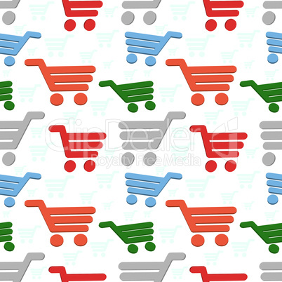 Seamless shop background with shop cart