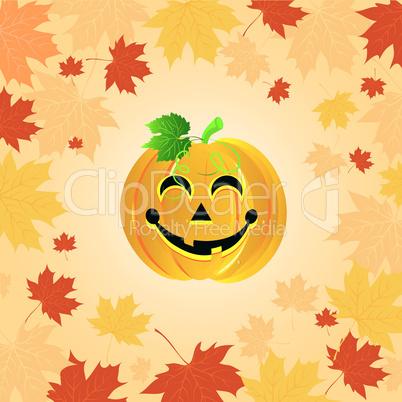 Halloween pumpkin on the autumn leaves