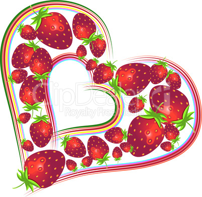 Valentines Day with strawberries, illustration