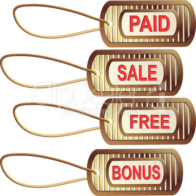 Set of gold tags for best sales