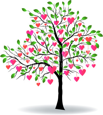 Valentine Day tree with leaf like heart