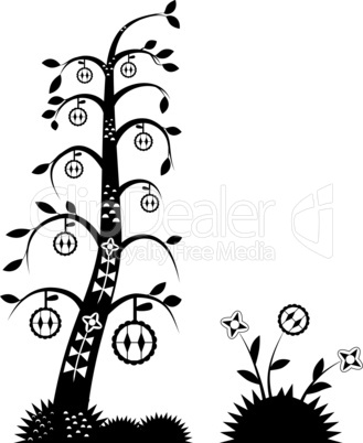 Stylized tree with leaves for design