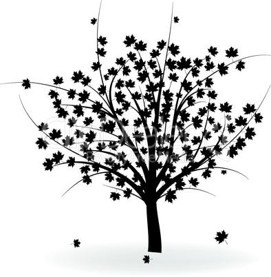 Silhouette of beautiful autumn tree for your design