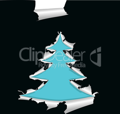 Paper with hole like Christmas tree, element for design