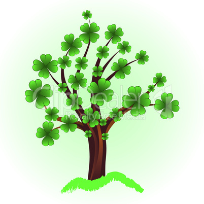 Art tree for St. Patrick's Day with four leaf clover
