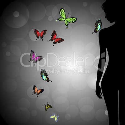 Sexual woman silhouette with colorful butterfly