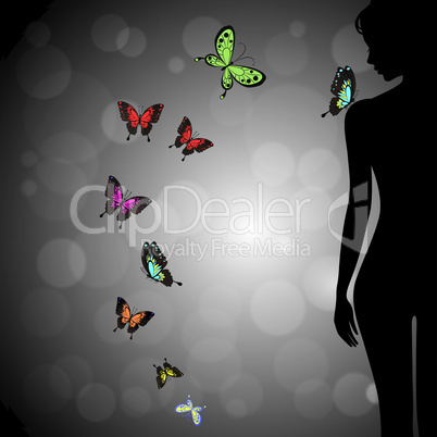 Sexual woman silhouette girl with colorful butterfly on bokeh background