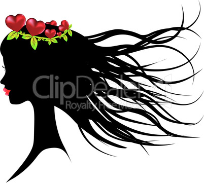 Silhouette of young woman thinking about love