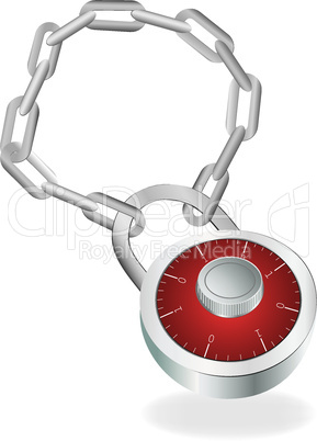 Metallic combination padlock on chain