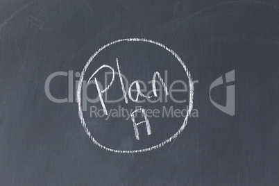 """Blackboard with """"Plan A"""" written on it and circled"""
