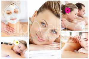 Collage of young people relaxing