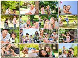 Montage of young adults having fun with their children