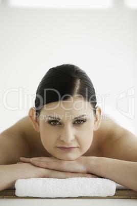 Dark-haired woman getting a spa treatment