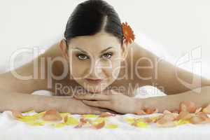 Dark-haired woman enjoying the relaxation