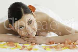Attractive dark-haired woman enjoying the relaxation
