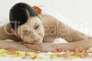 Cute dark-haired woman enjoying the relaxation
