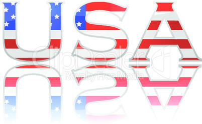 Flag in letters USA