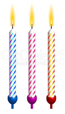 Vector birthday candles. Detailed portrayal