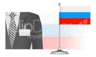 A Russian diplomat at the background of the flag