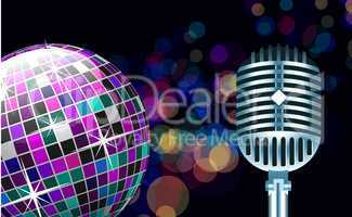 Vector disco ball with microphone