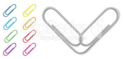 Vector paper clip set on white background