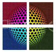 Technology color background in rhombus form on black