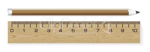 Vector wooden ruler