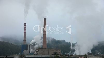 Industry Pollution in nature time laps looping