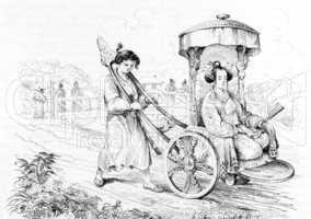 Japanese Lady in Chariot