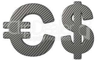 Carbon fiber font US dollar and euro symbols