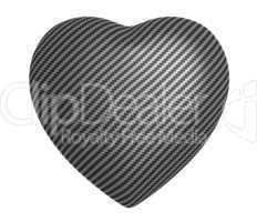 Carbon fibre heart shape isolated