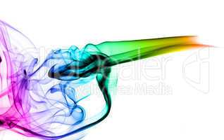 Colorful smoke Abstraction on white