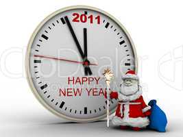 Santa Claus with New Year's clock
