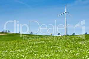 Wind Turbine in Spring Landscape
