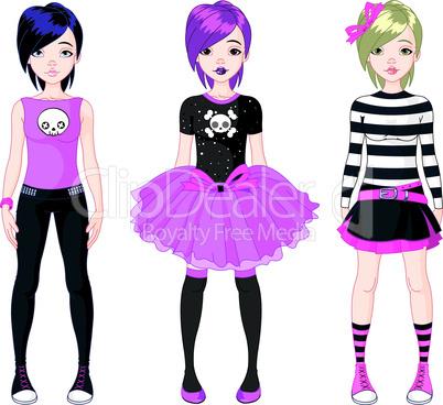 Three  Emo stile girls