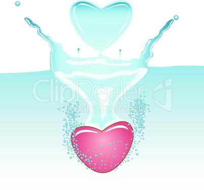 2 hearts fallen in water