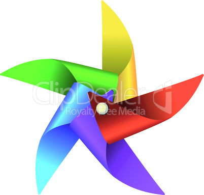 Colorful children's windmill toy vector graphic