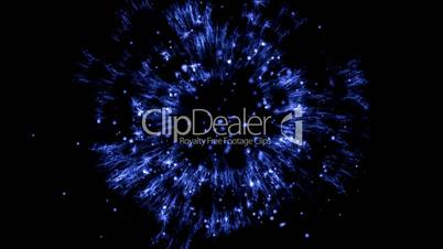 blue explosion particle in space.fireworks,flash,glow,jet,light,rockets,shells,spark,