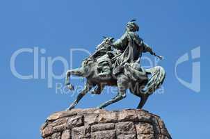Equestrian statue (monument) of Hetman Bogdan Khmelnytsky in Kiev, Ukraine