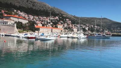 Boat leave harbour in Dubrovnik
