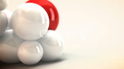 White and Red spheres animated. Abstract background.