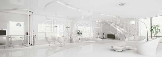 Interior of modern white apartment panorama 3d render