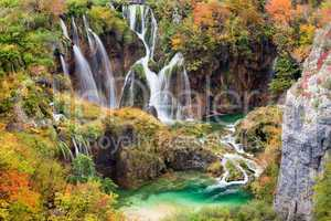 Waterfalls in Autumn Scenery