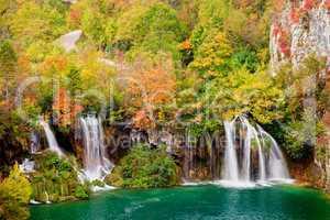 Waterfalls in Autumn Forest